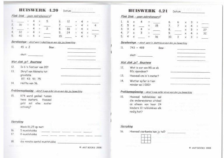 HUISWERK G4 – 7 (2 werkboeke/graad)